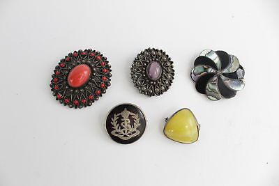 5 x Vintage .925 STERLING SILVER Brooches Mixed Inc. Shell etc- 45g