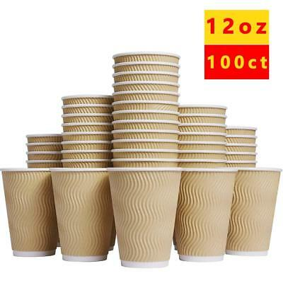 Luckypack Hot Paper Cups_12 oz Disposable Insulated Corrugated Sleeve Ripple Cup