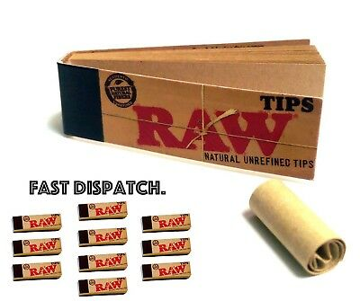 Raw Rolling Paper Roach Filter Tips Chlorine Free Roach Book, 1 -50 Booklets rwT