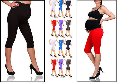Maternity Leggings Cropped 3/4 Length Cotton Very Comfortable Size 4 - 18 mtr3/4