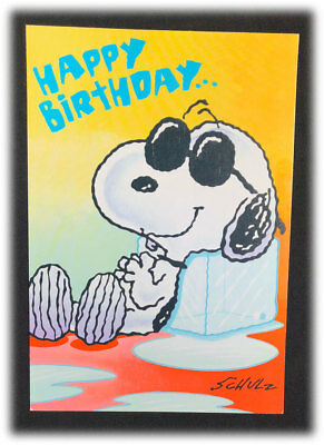 Schulz Snoopy Peanuts Summer Ice Oh Great Cool One Happy Birthday Card