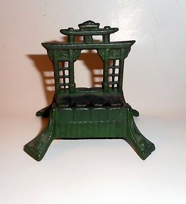 ART DECO 1920s CAST IRON JAPANESE PAGODA INCENSE BURNER ORIGINAL PAINT