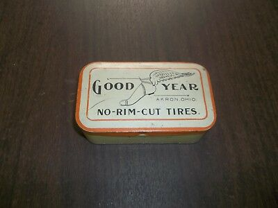 Vintage Goodyear No Rim Cut Tires Tin Gas Station Advertising Winged Shoe!