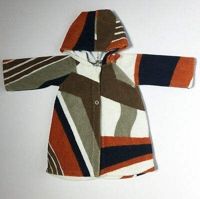 Handmade 60s Terry Cloth Towelling Geo Mod Hooded Baby Bath Robe FREE SHIP