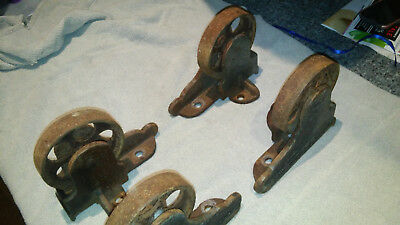 Antique Cast Iron Castor Wheels 4 Piece Set Industrial Cart Safe Steampunk