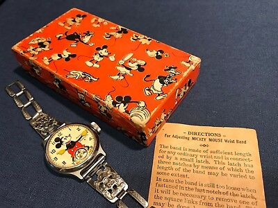 Vintage 1934 Ingersoll Mickey Mouse wrist watch with box -Original
