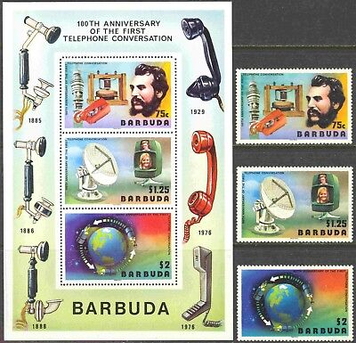 1977 Barbuda #260-262a Complete MNH Set of 3 + SS 100th Telephone Anniversary