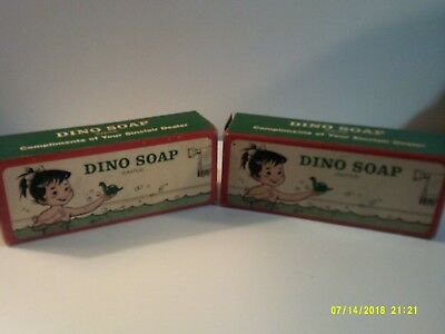 Sinclair Oil Co.Vintage Dino Soap. Two bars, separate boxes, Dinosaur shaped