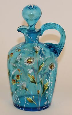 Victorian Bohemian Blue Pinched Glass Enameled Decanter Moser