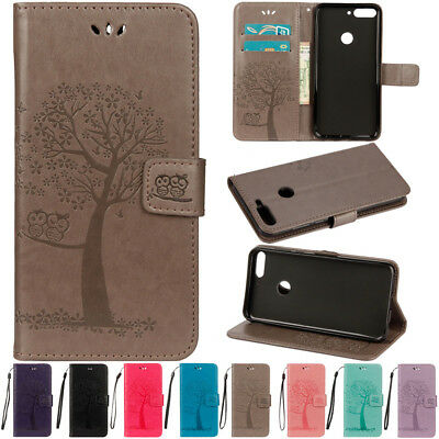 For Huawei Y5 Y6 Y7 Pro Y9 2018 2017 Flip Wallet Leather Card Painted Case Cover
