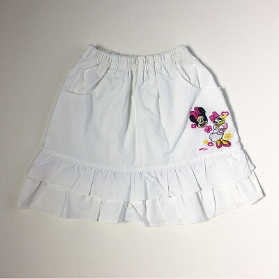 90s Disney Minnie Daisy White Embroidered Tier Skirt Girls 4T 5T 6 FREE SHIP