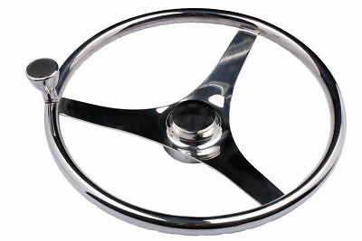 """13-1/2"""" Boat Stainless Steel Steering Wheel 3 Spokes With Knob for Marine Yacht"""