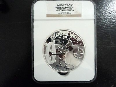 2015 1 Kilo Niue S$100 Steamboat Willie Disney-Mickey Mouse 1 of First 500