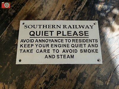 "A Cast Iron Southern Railway Sign ""Quiet Please"".  Train Notice Vintage Style #6"