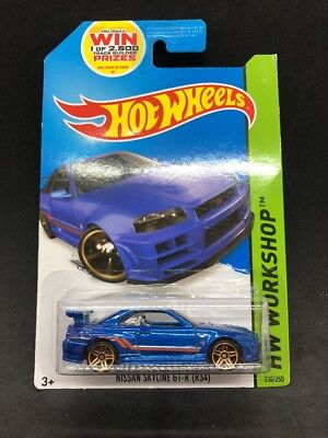 Hot Wheels 2014 Nissan Skyline R-34 GT-R Blue JDM Import Rare HTF New Sealed