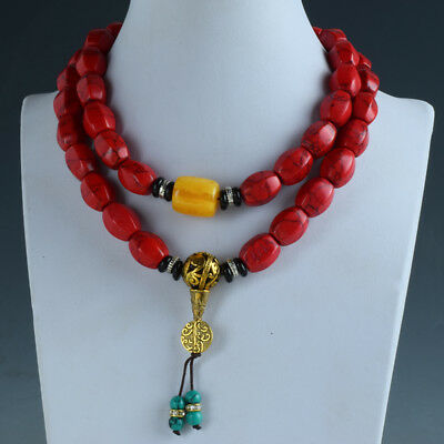 Chinese Red Turquoise & Beeswax Handwork Decoration Necklaces RX038+b