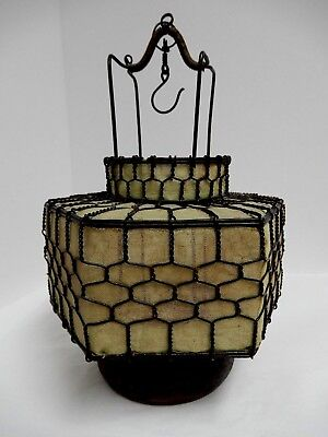"Vintage Look Pistachio Wire Lantern 11"" Tall Candle Holder EUC"
