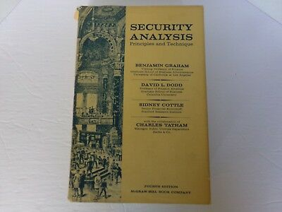 Security Analysis by Benjamin Graham : 4th Edition  1962  Hard Cover Dust Jacket