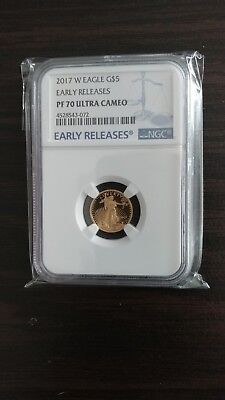 2017-W American Gold Eagle Proof (1/10 oz) $5 - NGC PF70 UCAM - Early Releases