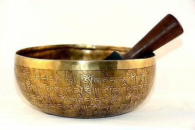 20 cm fine etching Handmade singing bowl with pillows and mallet, real healing
