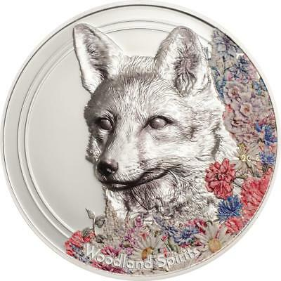 2018 Woodland Spirits Fox Proof Silver Coin With Wood Box - 500 Togrog Mongolia