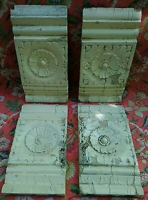 Four Antique Victorian Rosette Plinth Block C~1880 Architectural Moulding