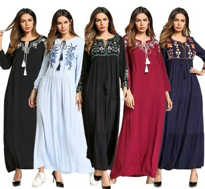 Women Dress Ethnic Embroidery Clothing Mexican Muslim Floral Robe Islamic Abaya