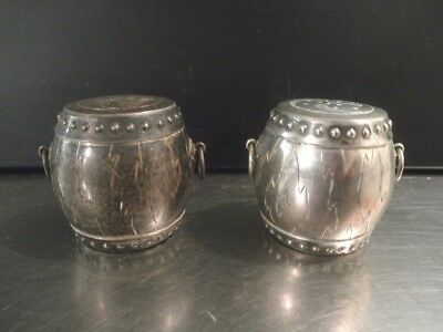 Vintage Sterling Silver Salt and Pepper Shakers Asian Garden Seat Stools