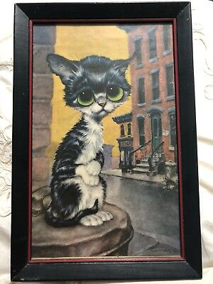 Framed Vintage Gig Print Pitty Kitty Big Sad Eyes Kitty 9x14