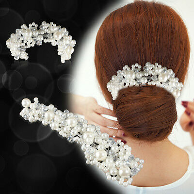 Crystal Rhinestone Pearl Hair Comb Bridal Wedding Flower Diamante Clip Headband