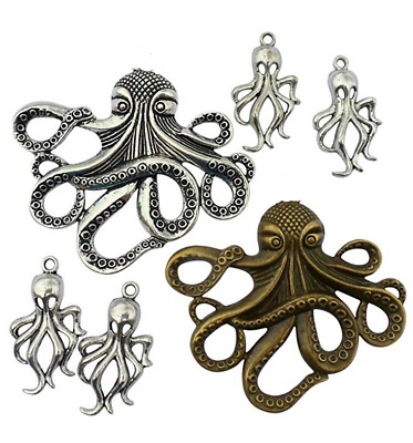 50pc Antique Tibetan Silver Spacer Pendant Charm Findings Octopus 20x15x5mm EB