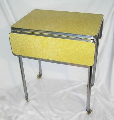 Mid Century Formica Kitchen Table Drop Leaf Chrome Yellow Crushed Ice