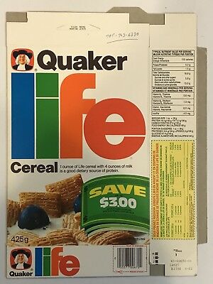 Vintage 1982 Quaker Oats Life Cereal Box,Canada,Coupon And Cash Offer