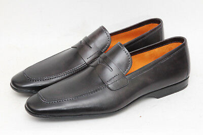 """Magnanni """"Meruelo"""" Black Grey Leather Penny Loafers Sz 13 M - 1264"""