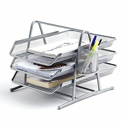 Premium Silver Document Tray with Pen Holder | Stackable Desk Organizer Trays...