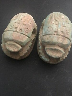 Rare Ancient Egyptian 2 Blue Scarab Pendant 26th DYN 680 BC