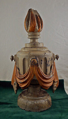Carved, wooden, fluted and draped funerary hearse finial #2 in old paint