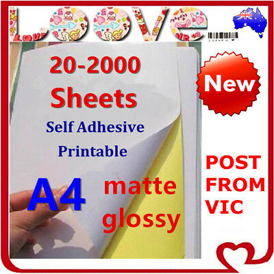 A4 White Self Adhesive Sticker Paper Sheet Label Laser Inkjet Print Matte Glossy
