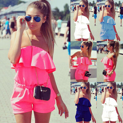 UK Women Ladies Holiday Strapless Playsuit Beach Shorts Jumpsuit Mini Dress 6-20