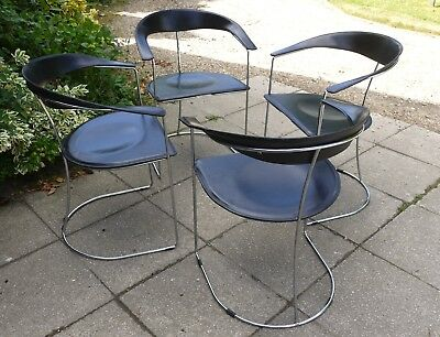 Set of four 70s or 80 Arrben leather and chrome dining chairs. Vintage retro