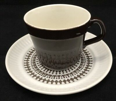Vintage KELSTON (CROWN LYNN) Dk Brown Cup And Saucer. Great 70's Design.