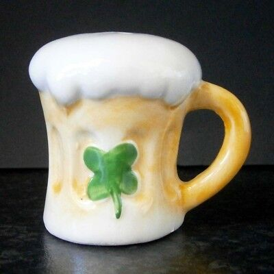 Vintage Japanese China Miniature Beer Mug 4-Leaf Clover Orphan Single Shaker