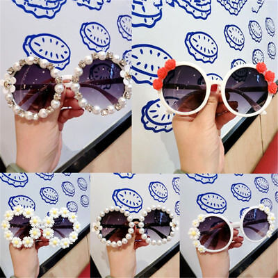 Round Fashion women Rhinestone Sunglasses Flower Imitation Pearl Beach Eyewear