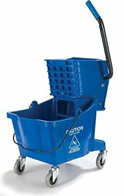 Commercial Mop Bucket With Side Press Wringer 26 Quart Capacity, Blue