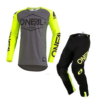 Oneal Mayhem ADULT Hexx MX Motocross Racing Jersey and Pants 2019 YELLOW