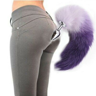 US Funny False Fox Tail With Silicone Plug Romance Game Toy Plug Anal-Butt Gifts