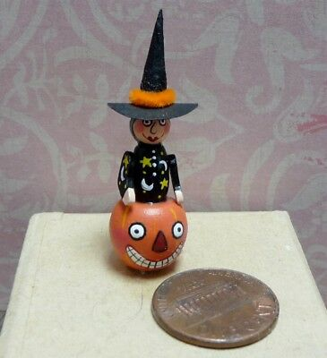 Cute 1:12 Scale Miniature Karen Markland Pumpkin Witch