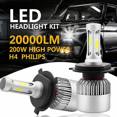 H4 9003 HB2 200W 20000LM High/Low Beam Head Fog Bulbs LED Headlight Kit WD
