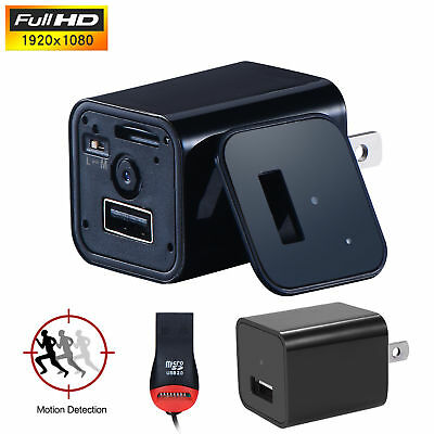 1080P HD Spy Camera USB Wall Charger Motion Detection AC Adapter Nanny Cam WD