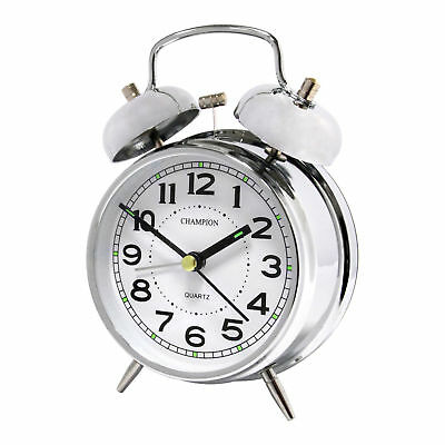 Champion Chrome Double Bell Alarm Clock Qtz8233Cr Battery Light 1 Year Warrenty